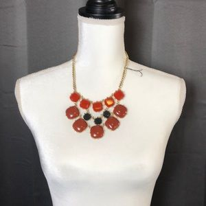 Gold Stone Necklace with Matching Earrings